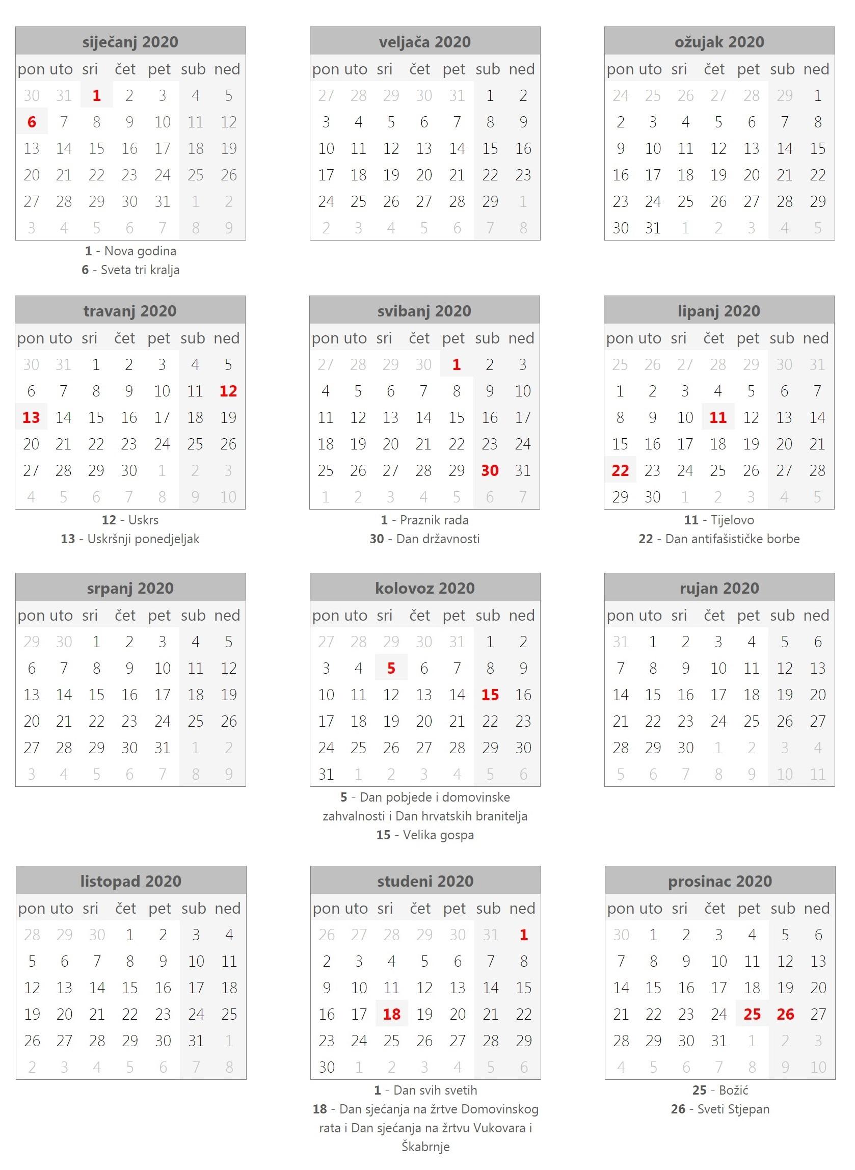 Kalendar 2020 hrvatski blagdani praznici